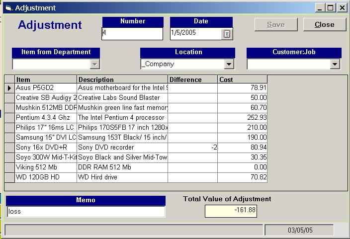 Adjustment Inventory database