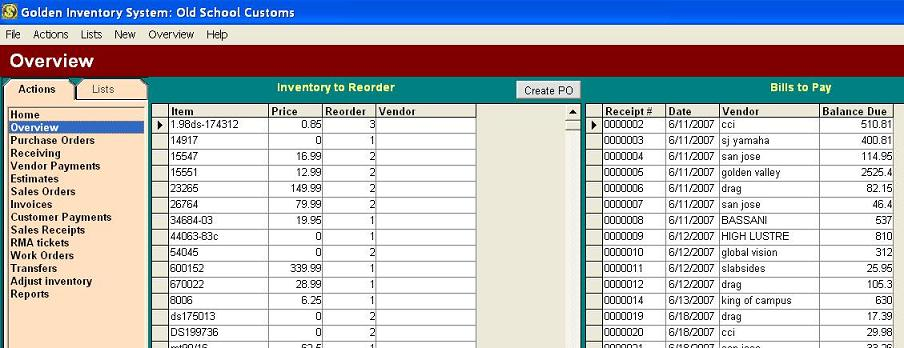 Bills to pay Inventory database