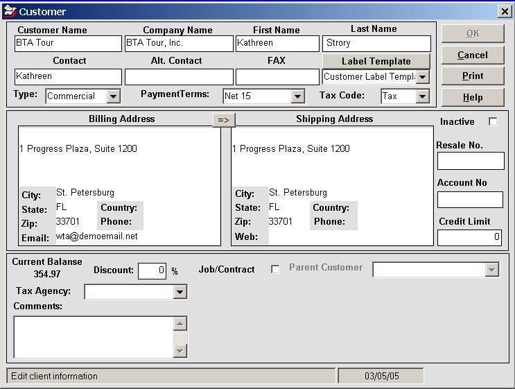 Customer edit form Inventory database