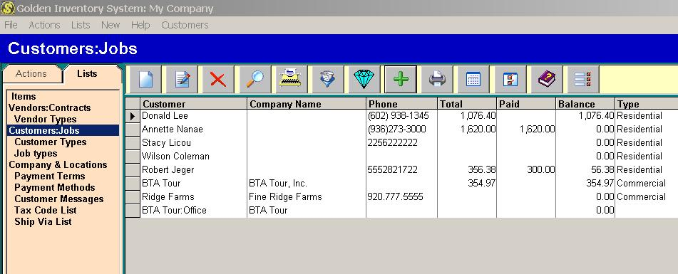 Customer list Inventory management database