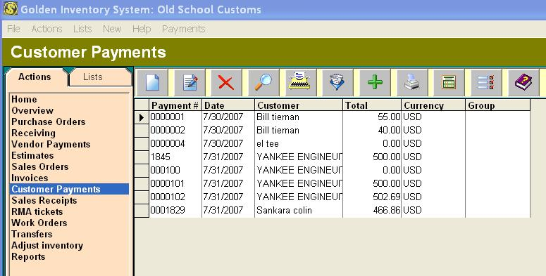 Payments tracking Inventory database