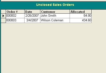 unclosed sales orders Inventory database
