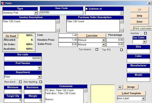 Inventory tracking control software