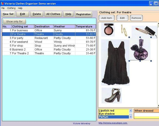 Click to view Victoria Clothes Organizer 1.2 screenshot